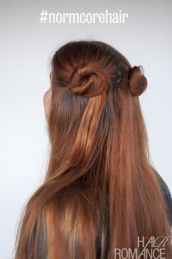 90s inspired #normcore hair tutorials – half up double ponytails and buns - Hair Romance