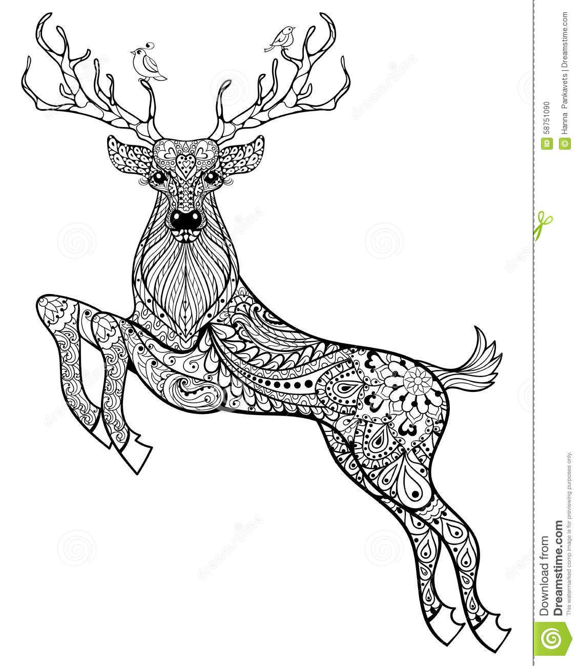 Anti stress colouring pages for adults - Hand Drawn Magic Horned Deer With Birds For Adult Anti Stress Co Download From Over Horse Coloring