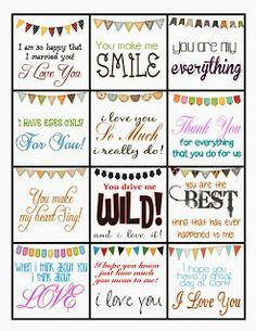 free printable lunchbox notes for husband - Google Search ...