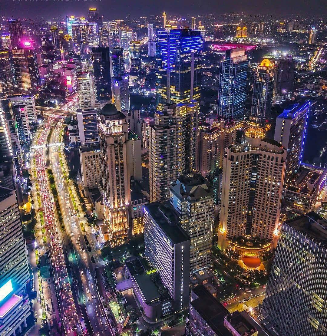 Jakarta At Night City Cities Buildings Photography Indonesia Gambar Tempat