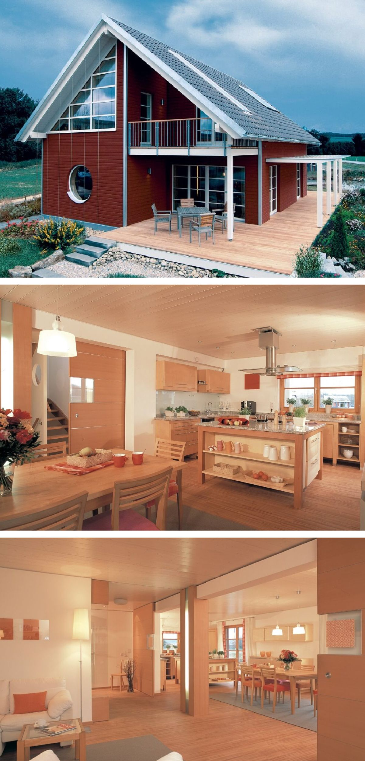Einfamilienhaus Im Landhausstil Skandinavisch Mit Holzfassade Rot,  Satteldach Architektur Und Inneneinrichtung Holz   Fertighaus