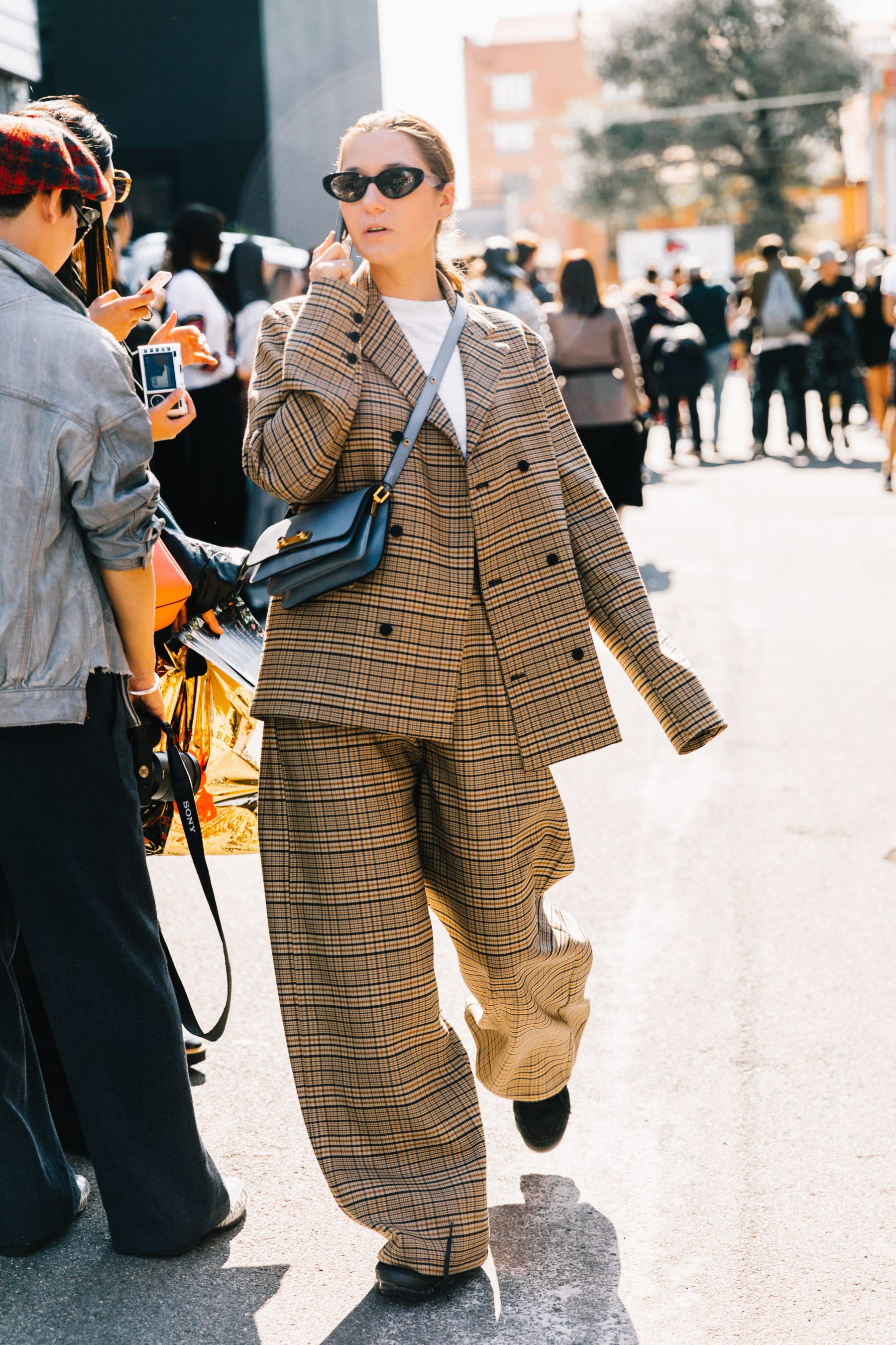 e0ffa57c18ee4f #NYFW, street style, Fall 2017 outfit ideas, blogger style, oversized  blazer, red boots, plaid blazer, red trend, milan fashion week, italian  style