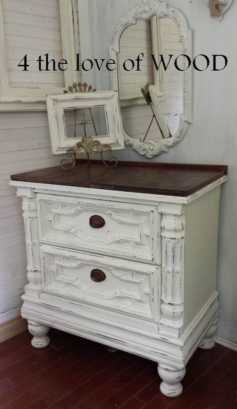 Dark Waxed Wood Top White And Wood Nightstands White