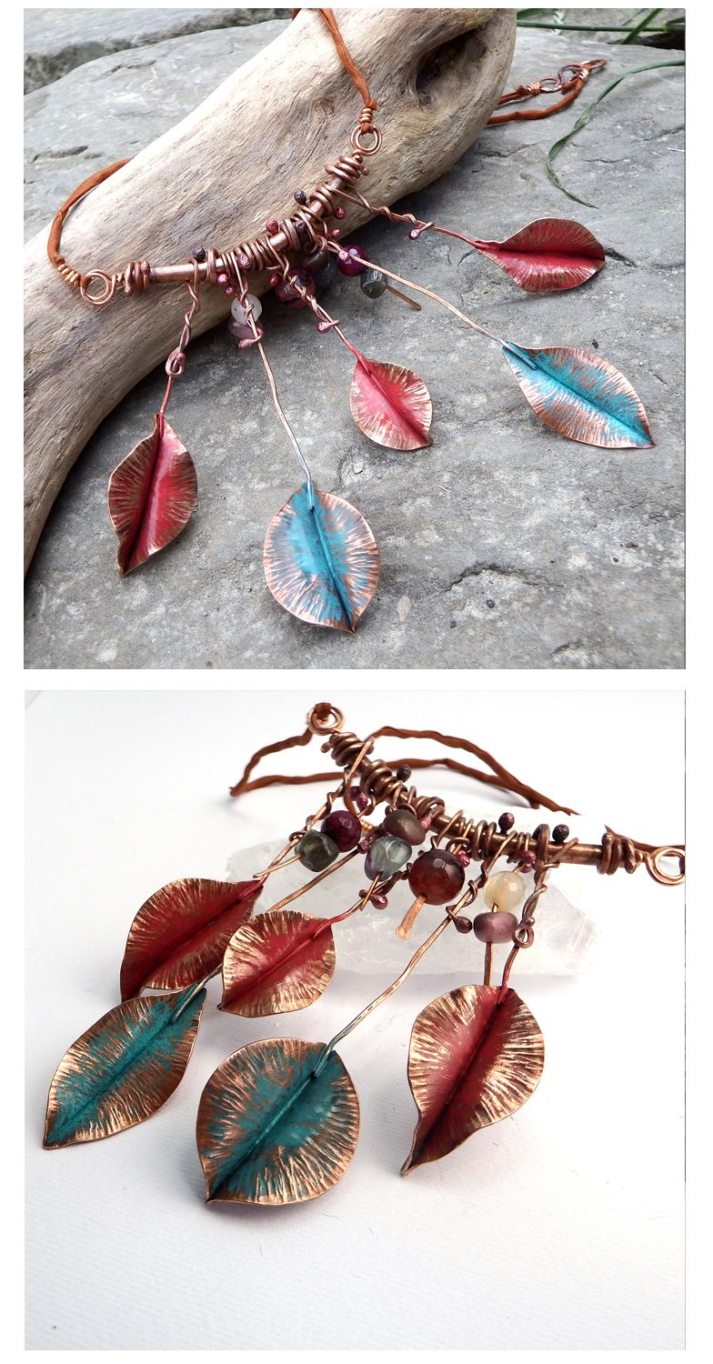 """""""Wild Thing"""", one of a kind, handmade necklace by Alice Savage. Hammered copper and crystal beads, gemstones, for the wild at heart."""