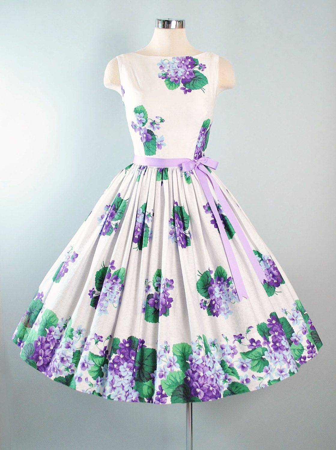 39463e9c31dc Vintage 1950s Sundress by Serbin of Florida ♢ Constructed in a White  Textured Weave Cotton Fabric with Stunning Purple