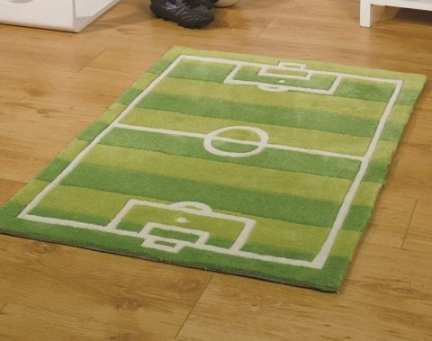 Image Of Kids Green Football Pitch Rug