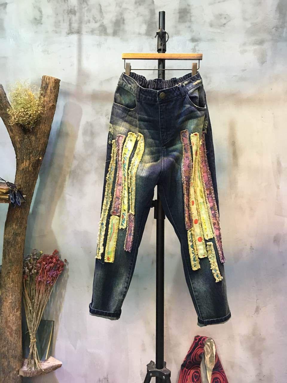 83144756a6c Fashion Cloth Patchwork Fashion Jeans Womans Baggy Jeans  jeans  patchwork   baggy  fashion  Korean  denim  pants  trousers  cool  street  wholesale