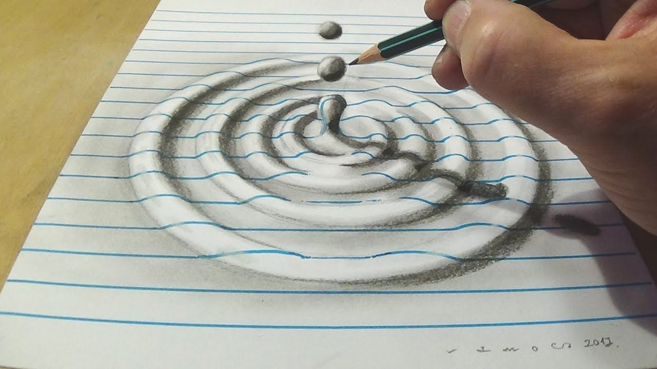 Line Drawing Water : How to draw water drop with charcoal pencil trick art on