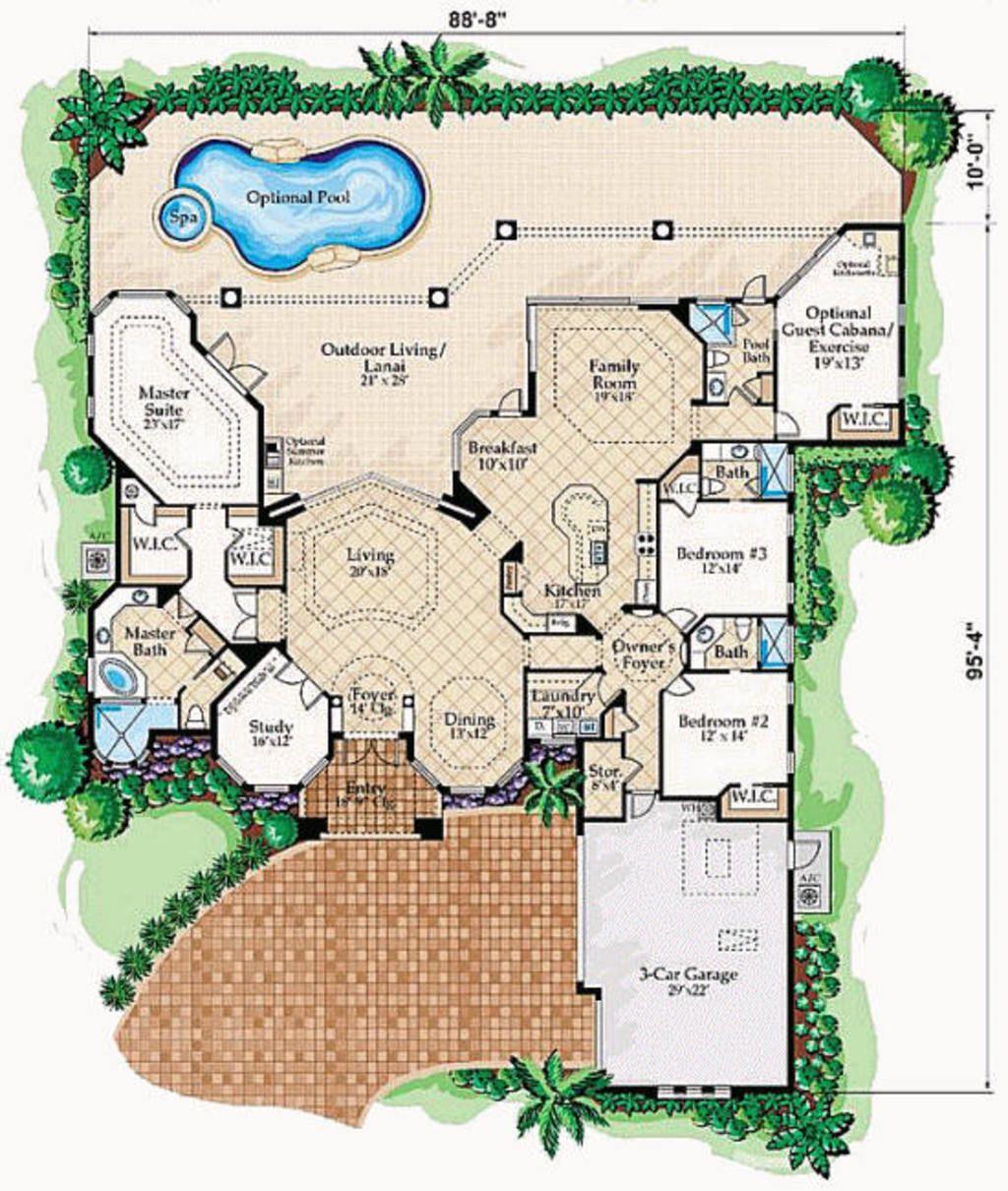 Mediterranean Style House Plan 4 Beds 4 5 Baths 3650 Sq Ft Plan 27 229 Florida House Plans Mediterranean House Plans Mediterranean Style House Plans