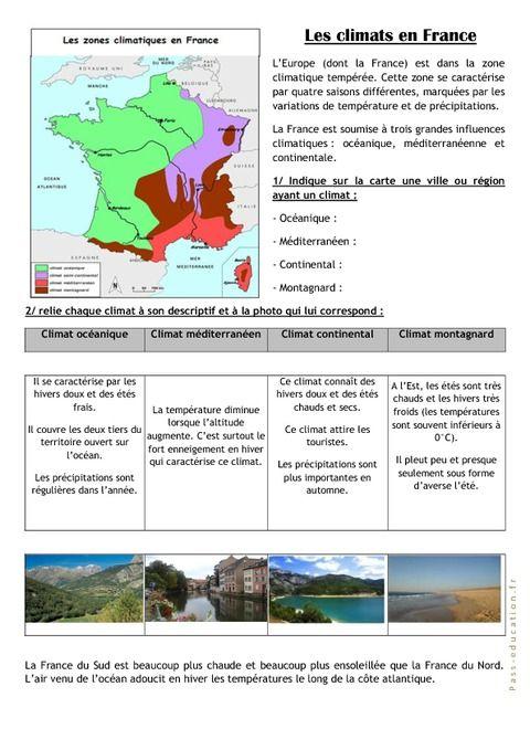 Les climats en France - Ce2 cm1 - Exercices | Ce2 cm1, Climat, Cm1