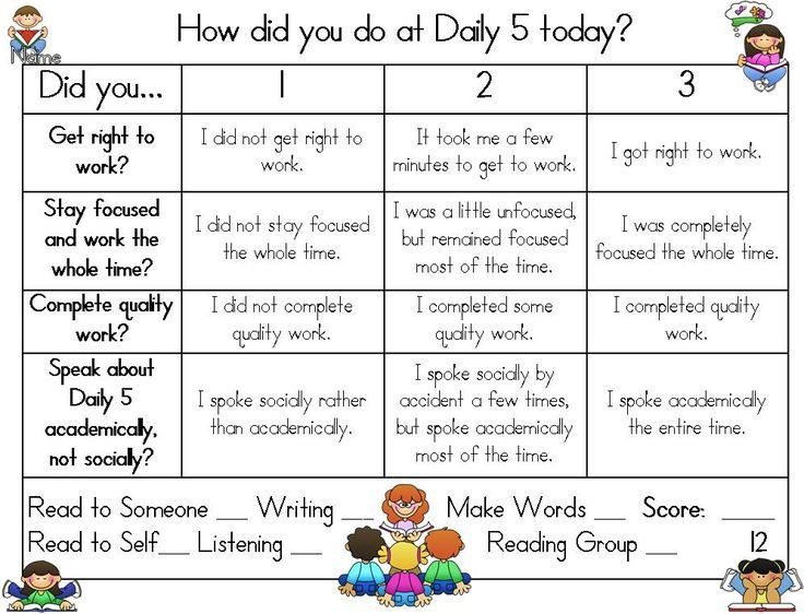 The Daily 5 Kindergarten Publishers  Hilary Lewis  Daily 5 - group activity evaluation template
