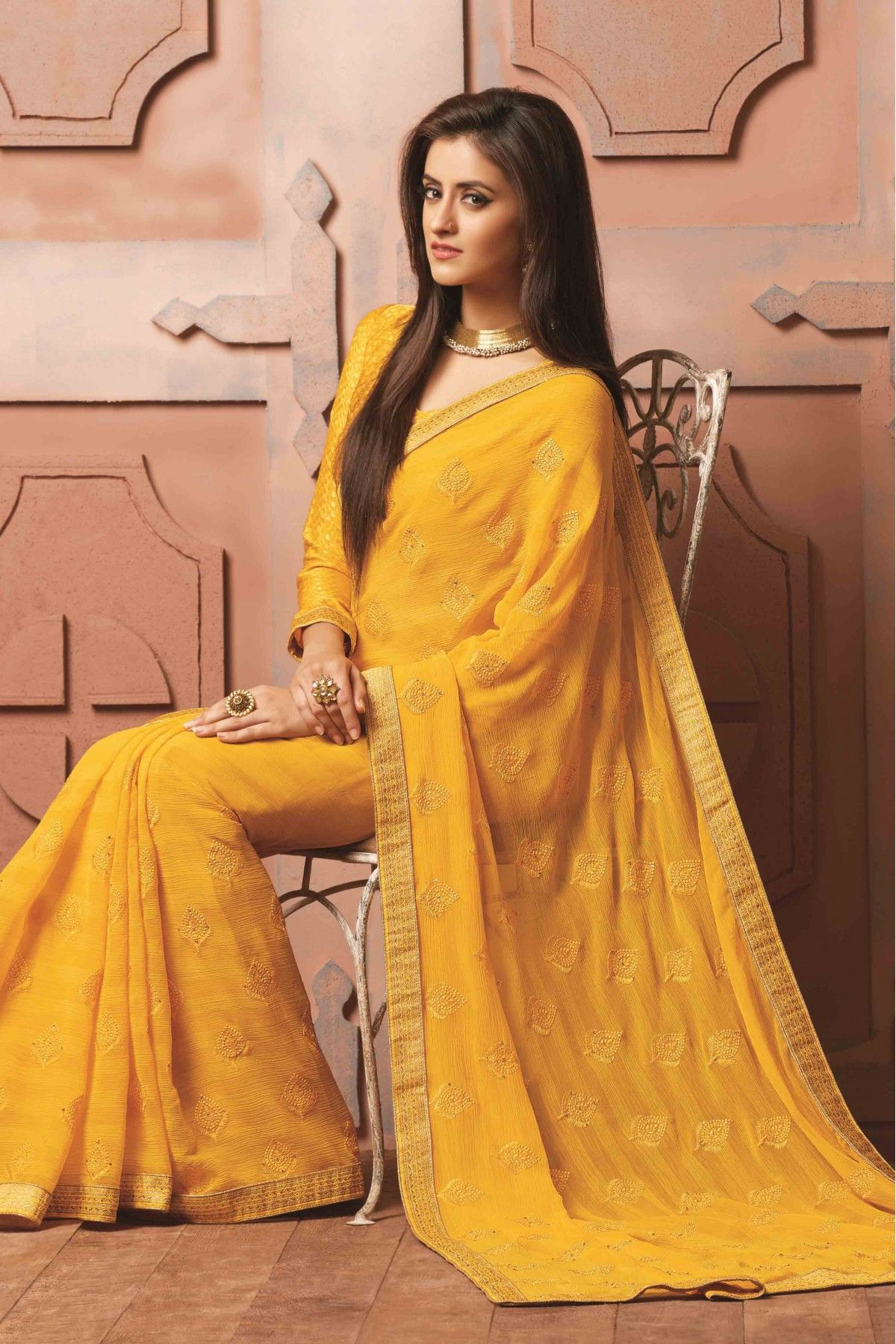 706618dfdcba82 Yellow Colour Wrinkle Chiffon Fabric Party Wear Designer Saree Comes With  Matching Blouse. This Saree Is Crafted With Embroidery,Lace Work.