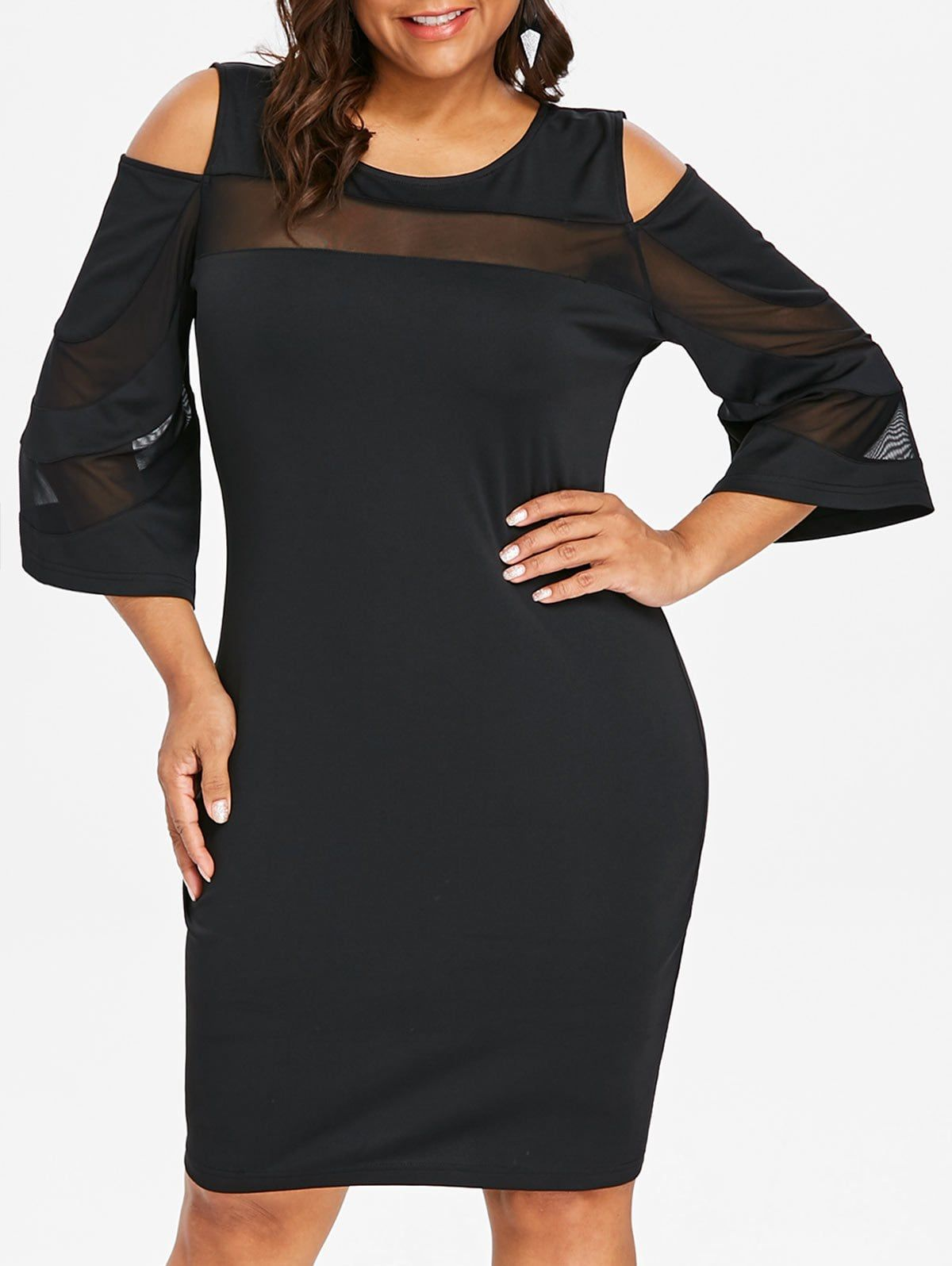 da5c20c37b1 Cold Shoulder Plus Size Mesh Panel Knee Length Dress