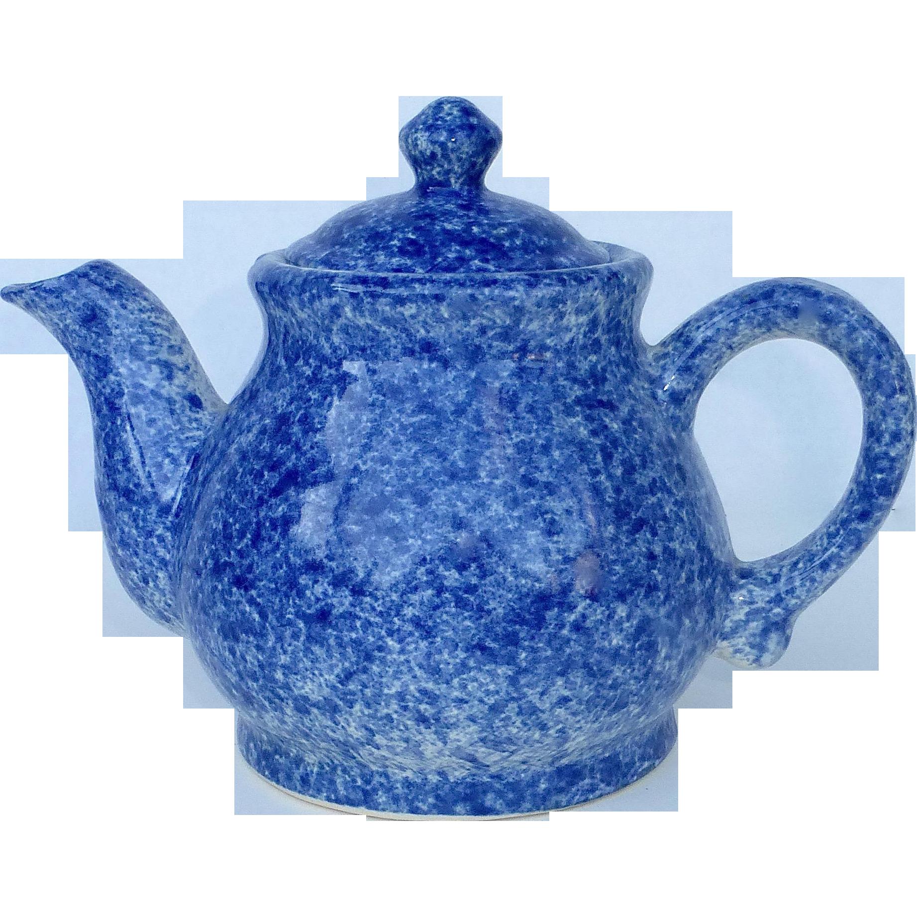 Blue Spongeware Ceramic Teapot Found At Www Rubylane Com Vintagebeginshere Tea Pots Antique Tea Cups Ceramic Teapots