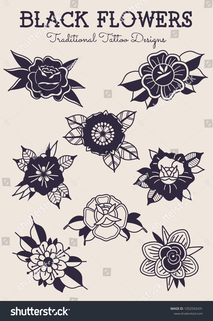 Photo of Black Flowers Traditional Tattoo Designs Image vectorielle de stock (libre de droits) de 1052592431