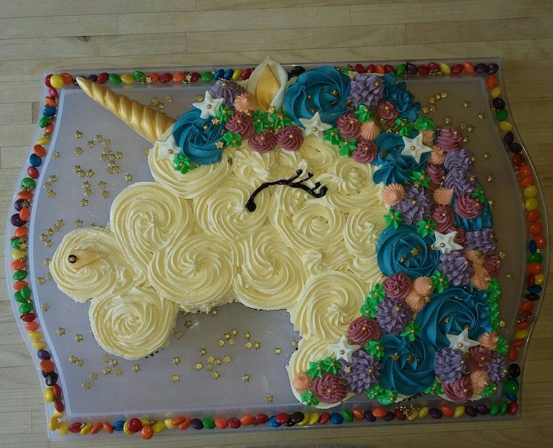 Birthday Cake Ideas Made Out Of Cupcakes : Unicorn pull apart cupcake birthday cake desserts ...
