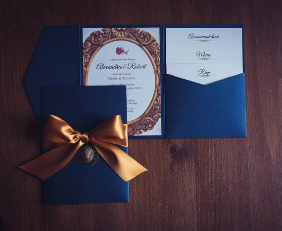 Beauty and the Beast Wedding Invitation | Pocket Wallet | Navy | Gold | Quinceanera party invite | Wedding Invite | Disney Wedding