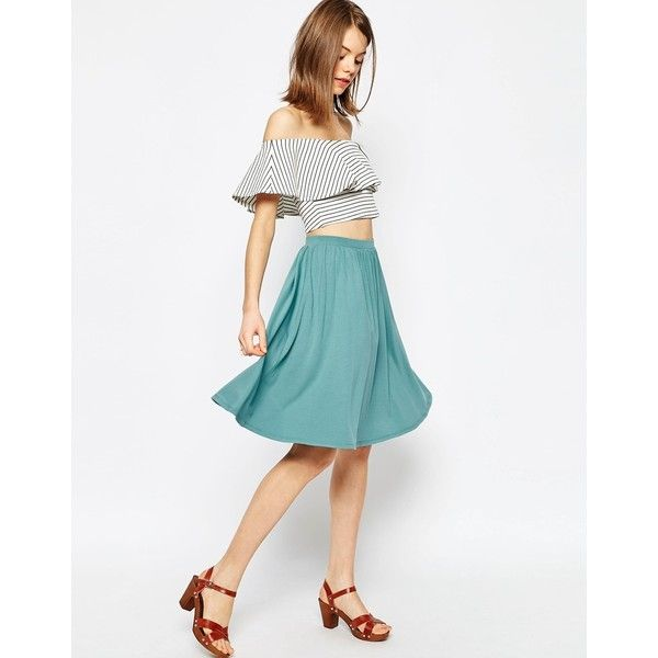 ASOS Midi Skater Skirt in Jersey (£21) ❤ liked on Polyvore featuring skirts, teal, skater skirt, jersey skirt, white knee length skirt, teal skater skirt and midi circle skirt
