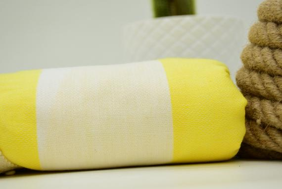 Yellow And White Striped Round Beach Towel Turkish Towel Round