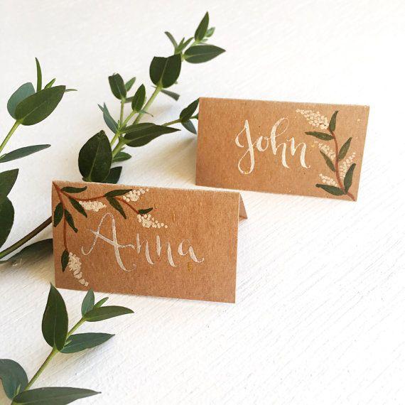 Custom Hand Written Calligraphy Wedding Place Cards Rustic Wedding Name Cards Calligraphy Wedding Place Cards Wedding Place Cards Rustic