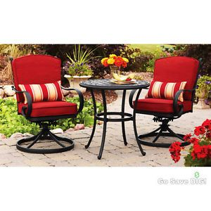 3 Piece Outdoor Bistro Set Seats 2 Red Swivel Rocker Chairs