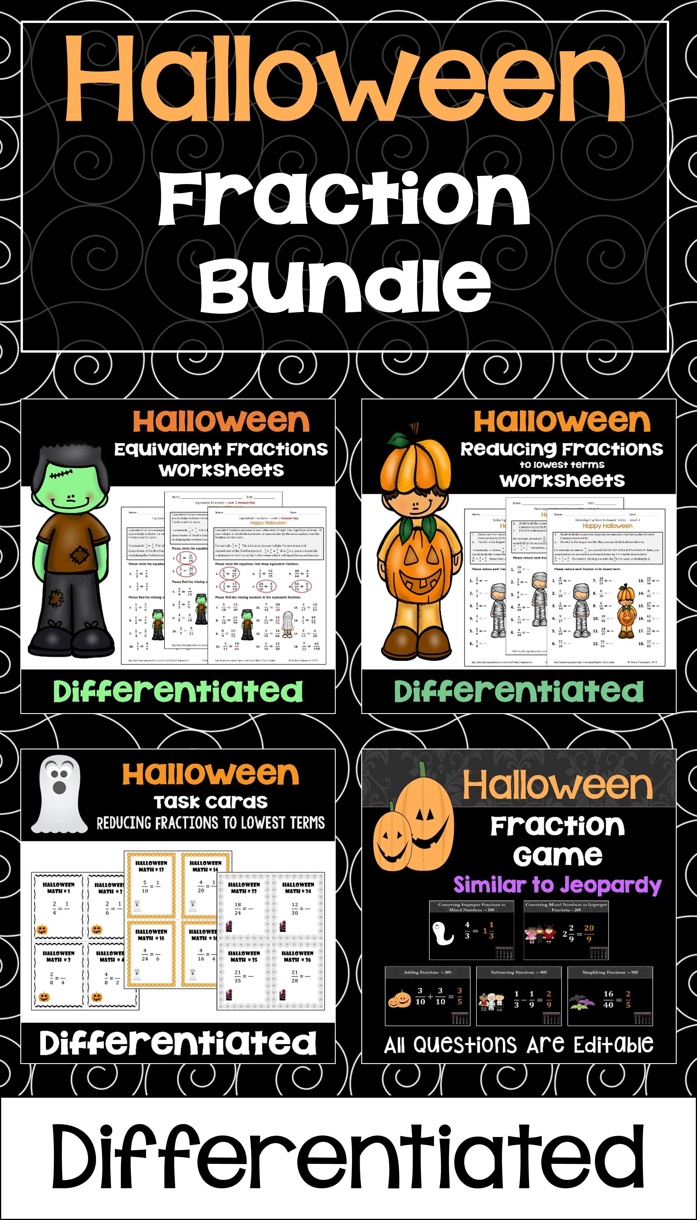 Halloween Fraction Bundle With Worksheets Task Cards And