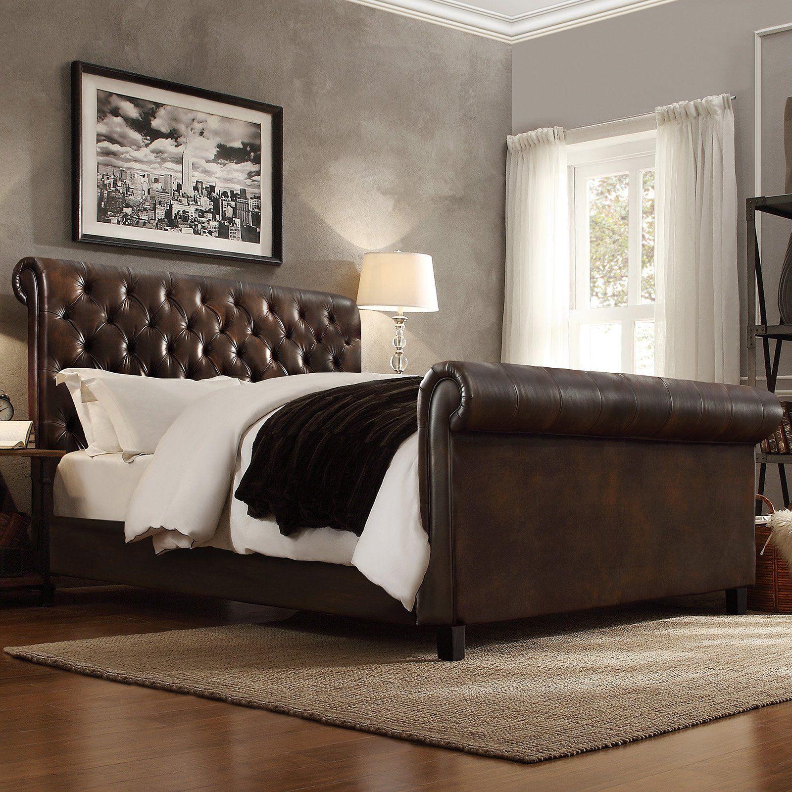 Homelegance Dartford Upholstered Faux Leather Sleigh Bed