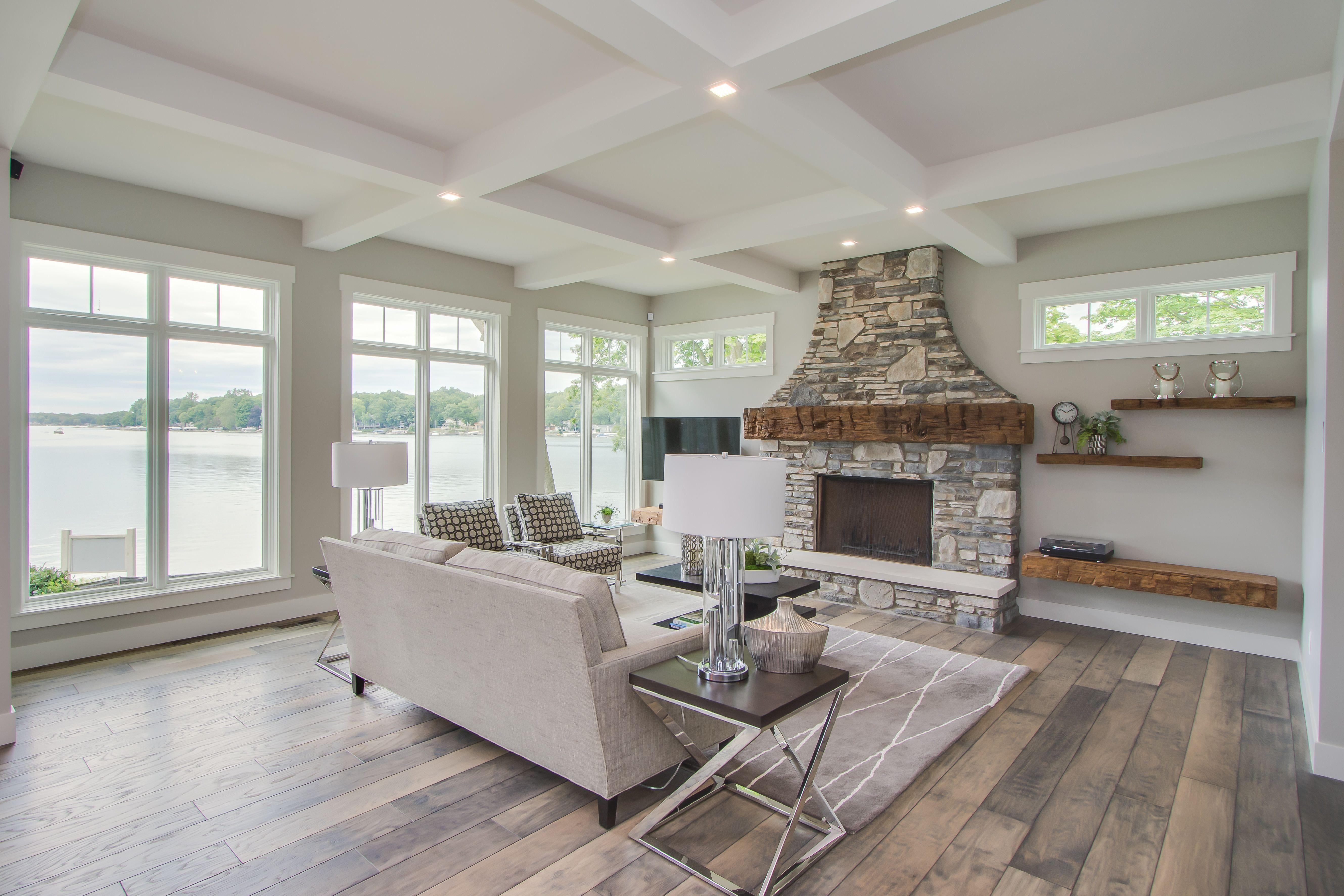 Living Room Oak Hardwood Floors Box Beam Ceiling Detail