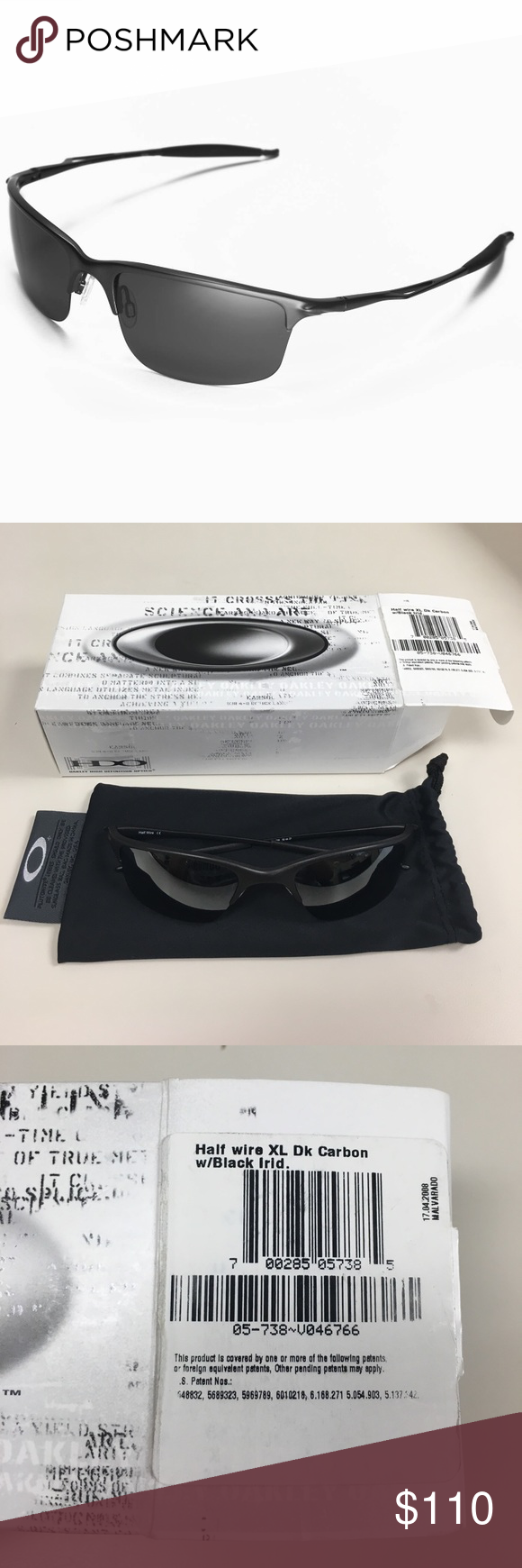 NEW IN BOX Oakley Half Wire XL Black Sunglasses | Black sunglasses ...