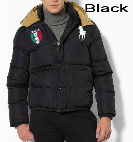Polo Ralph Lauren Men Full Zip Italy Flag Down Jacket Black