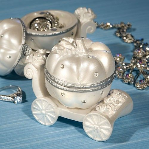 This elegant carriage design curio box is one Cinderella themed wedding favor that your guests will really flip their lids over!  Today is your fairy tale day so why not add a touch of elegance and magic to your tables with these magnificent pumpkin carriage design boxes.  Each is intricately crafted of durable white resin embellished with brilliant rhinestones, carved flowers and silver painted accents.  But what makes them truly unique is that unlike most box favors, these have lids that…