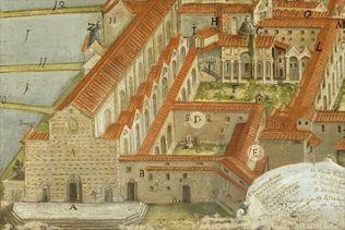 """Firenze - Il complesso di Santa Croce in una veduta del 1718 - Sono tre  i chiostri del complesso: quello principale, detto """"di Arnolfo"""", il secondo detto """"del Brunelleschi"""" e il """"chiostrino antico"""", forse il primo ad essere costruito"""