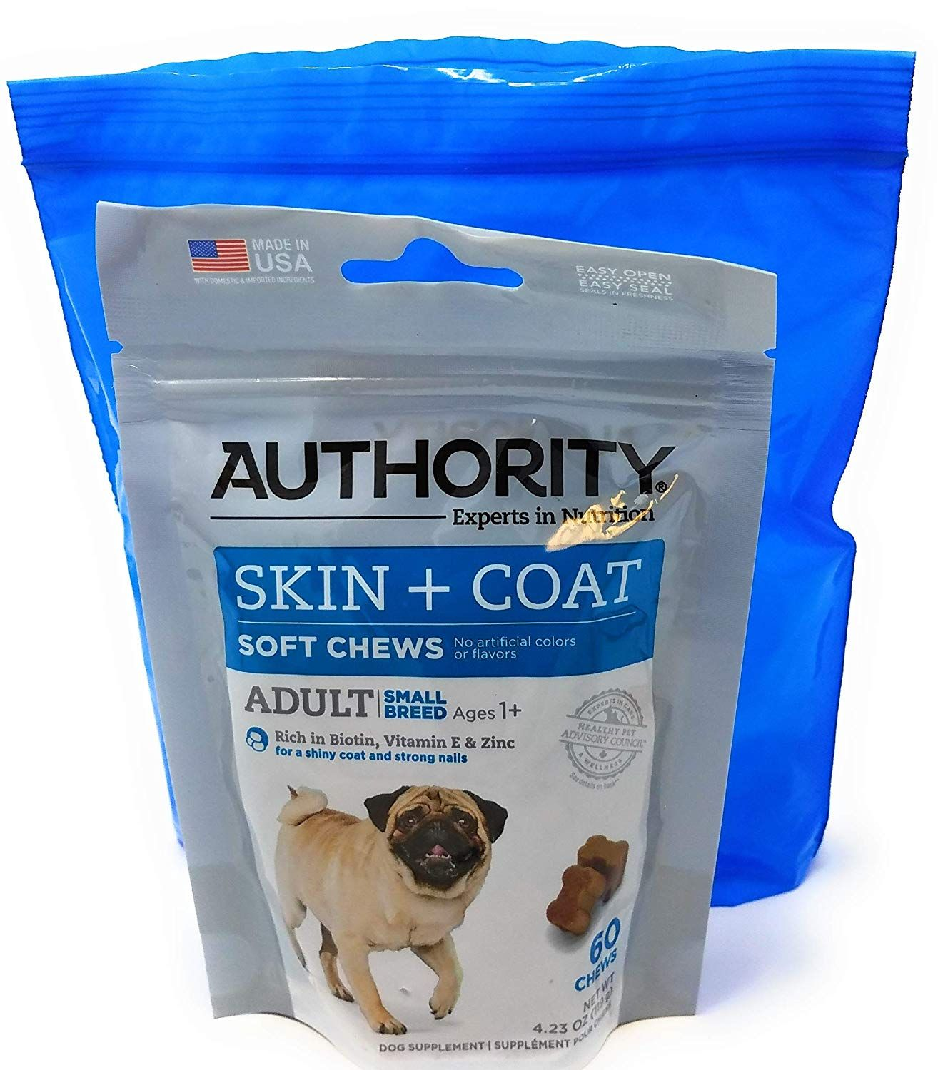 Authority Skin And Coat Soft Chews And Tesadorz Resealable Bags