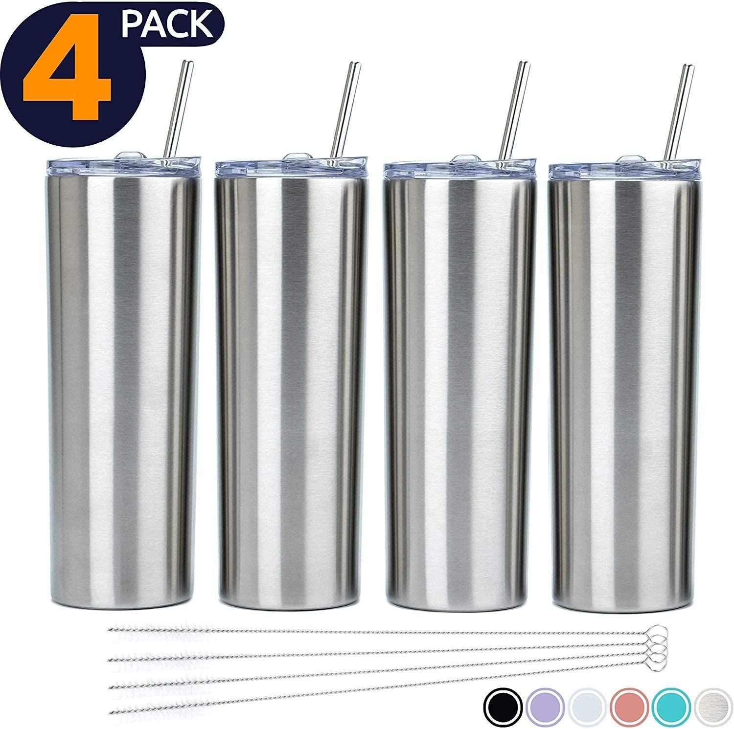 Stainless steel 20oz skinny tumbler double wall insulated with lids and straws