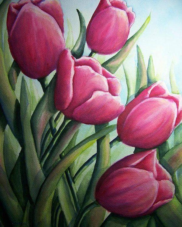flowers painting tulip art flowers painting tulips painting red tulips art botanical painting Red tulips bed original oil painting