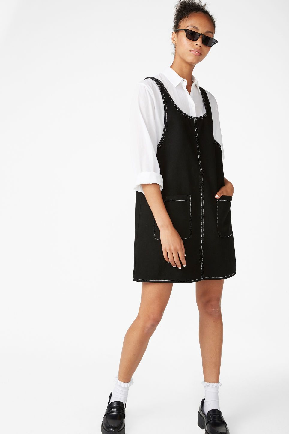 fd5d6f8af8 Contrast stitch pinafore dress - Contrast stitch - Dresses in 2019 ...