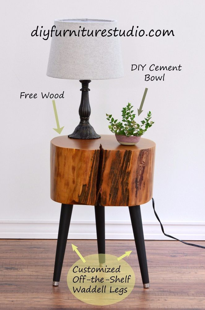 How to Make a Tree Stump Side Table With DIY Legs Tree stump side