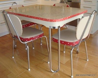 Restyled Vintage Old Table And Reupholstered Matching Chairs