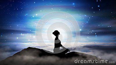 woman silhouette in yoga lotus pose practicing meditation
