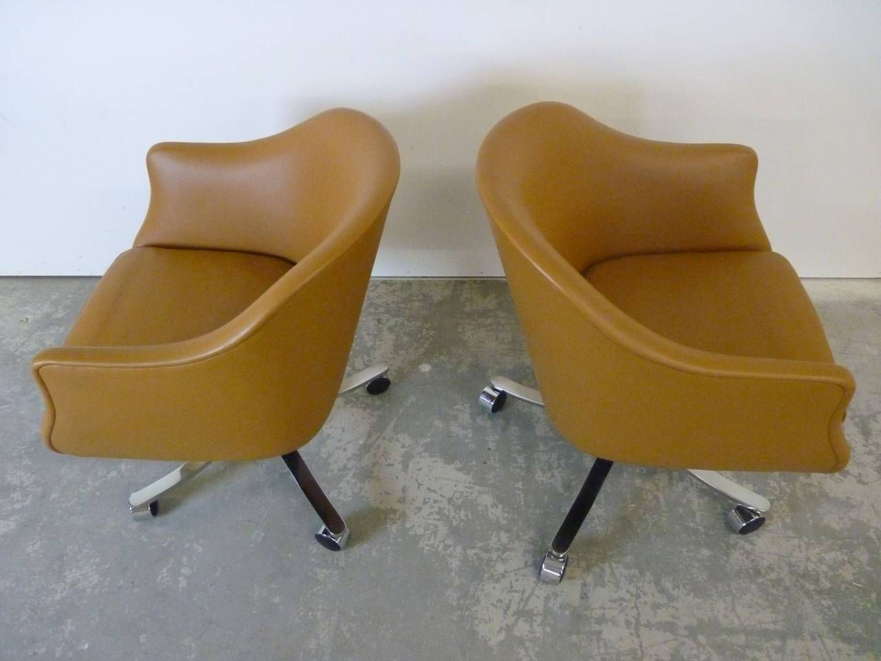 Desk Chairs by Nicos Zographos in Palomino Leather | From a unique collection of antique and modern armchairs at https://www.1stdibs.com/furniture/seating/armchairs/
