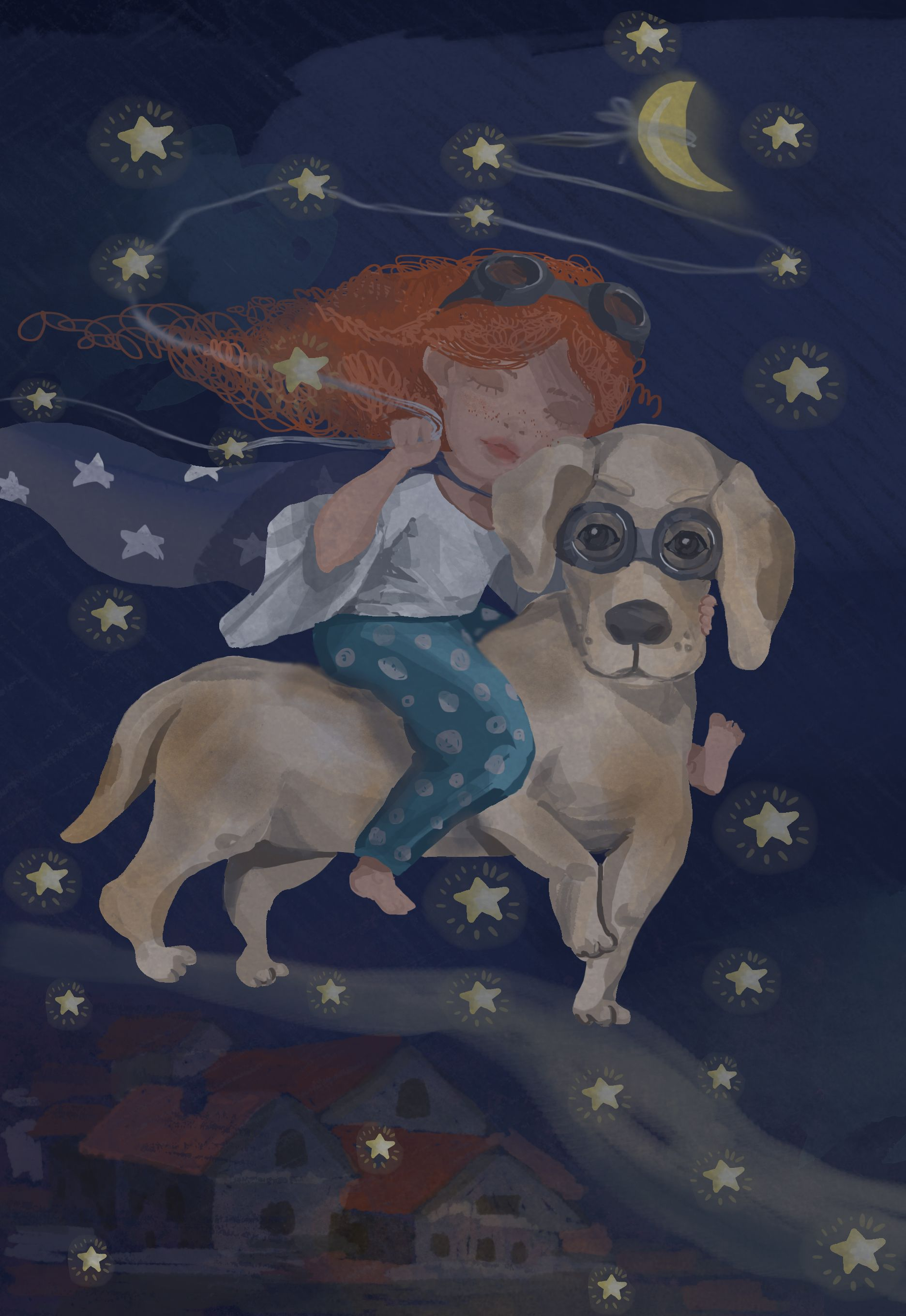 dreaming girl with her friend big dog.