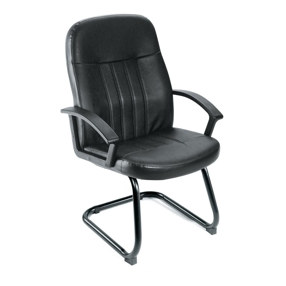 Boss Black Executive Leather Budget Guest Chair Office Guest