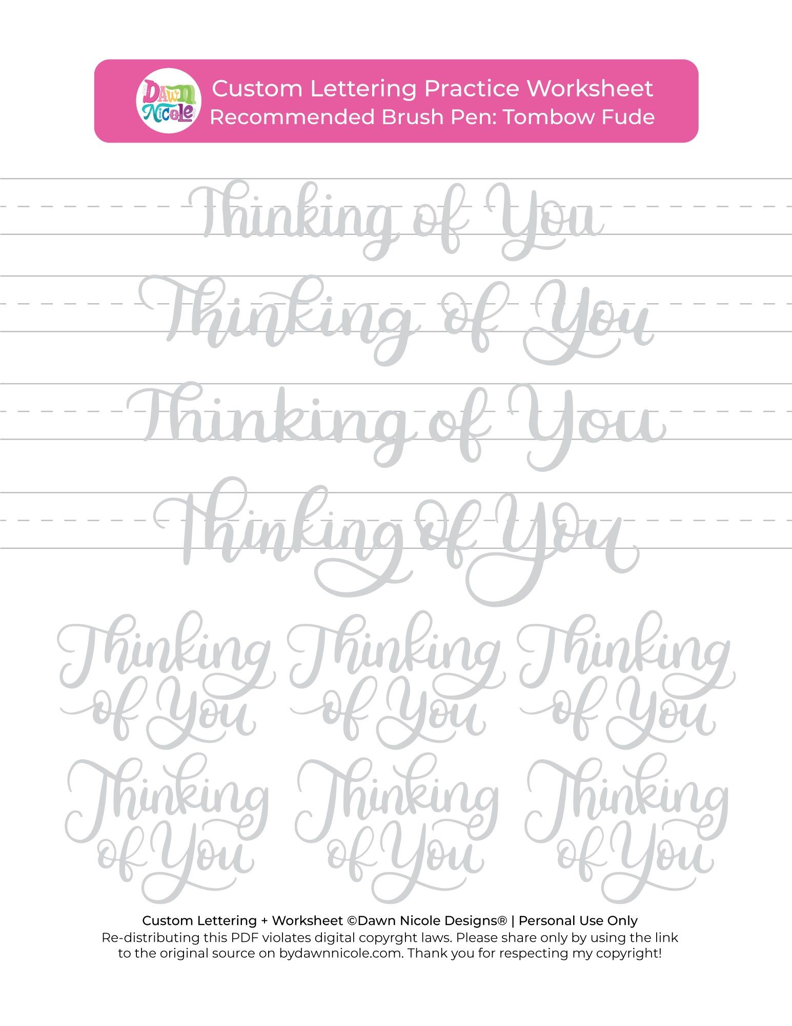 Thinking Of You Brush Calligraphy Practice Sheets