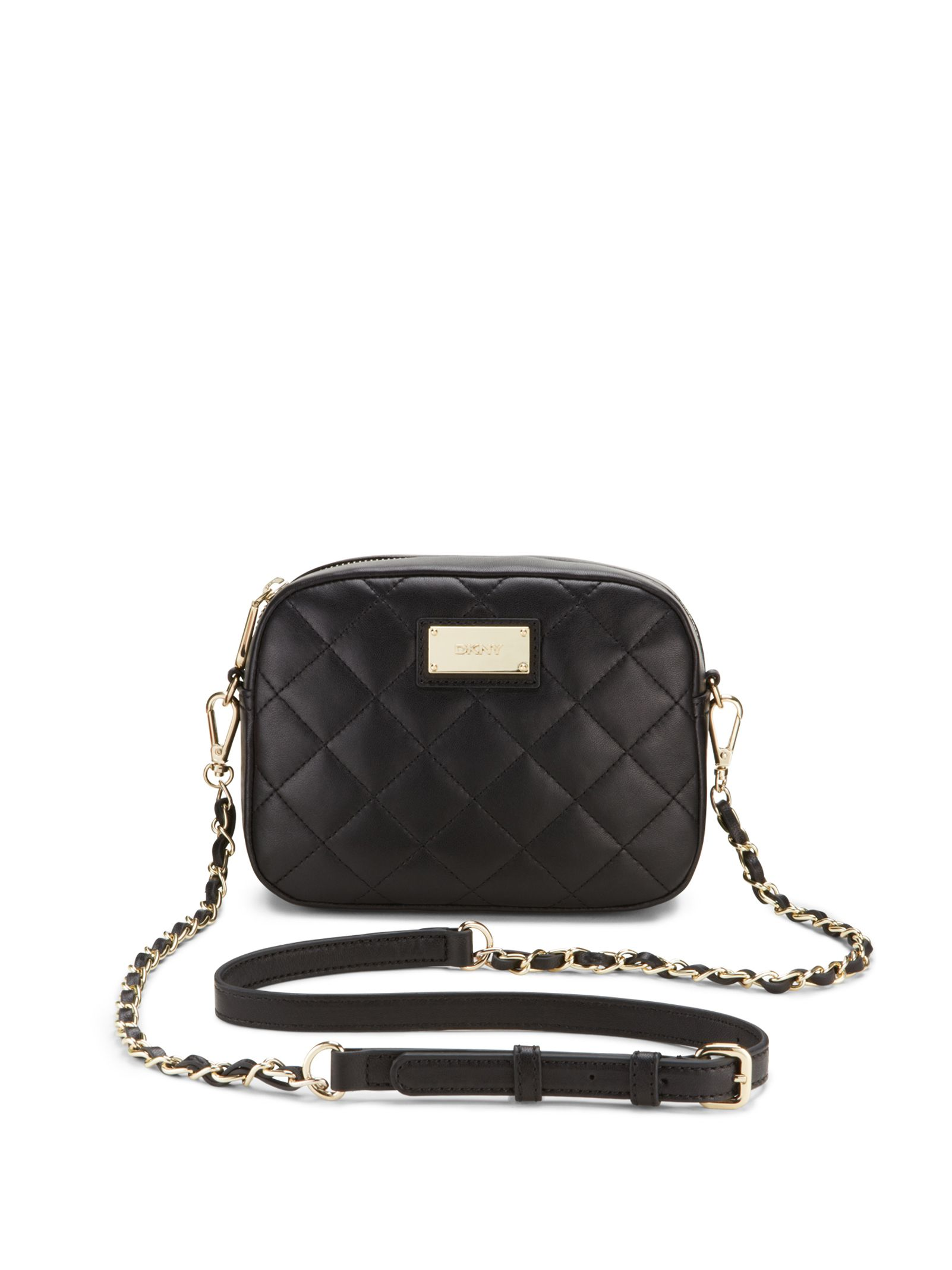 Leather quilted handbags and purses - Quilted Leather Chain Camera Bag Black