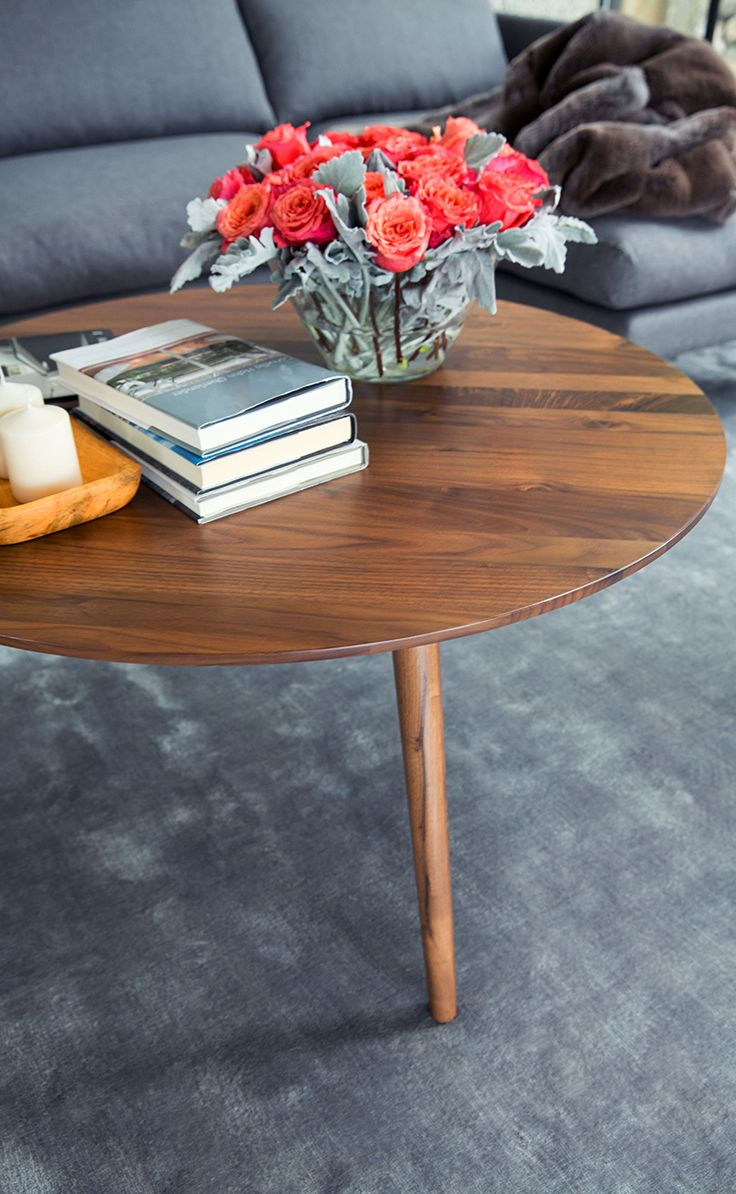 Round Coffee Table In Solid Wood Article Amoeba Modern Furniture - Colorful judd side table with different variations