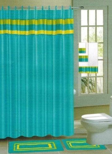 Gorgeous Home 15PC AQUA BLUE STRIPE BATHROOM BATH MATS SET RUG CARPET SHOWER CURTAIN HOOKS NONSLIP