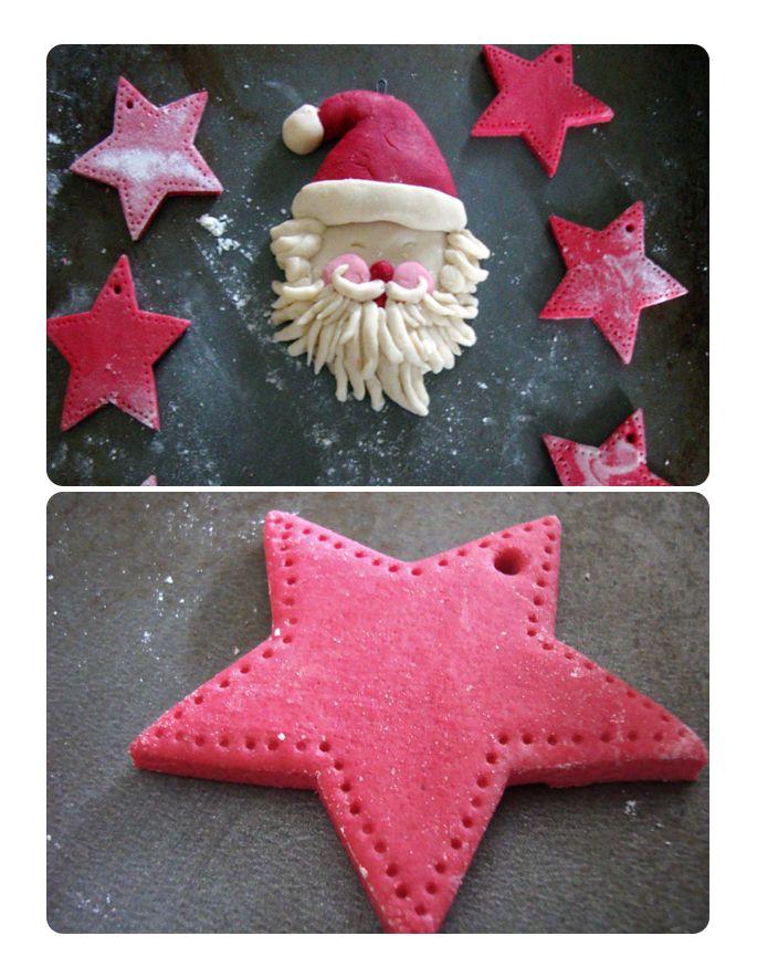 Salt dough ornaments. Recipe: 1 cup salt, 2 cups flour, 1 ...