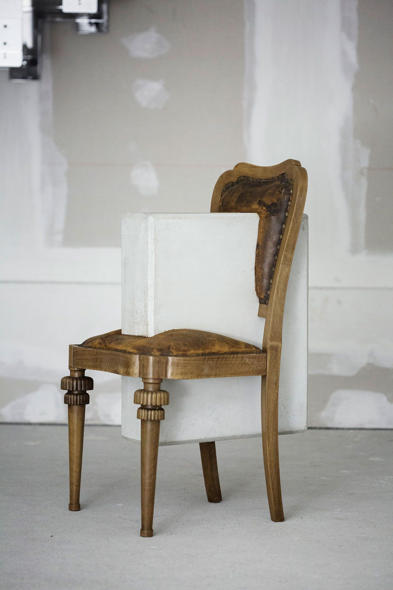 Nucleo (Piergiorgio Robino + Marzia Ricci), U201cBooleanu201d And (Chair), 2017.  Concrete, Vintage Furniture, 61 X 49 X 95h Cm. Unique Piece In An Edition  1+1.