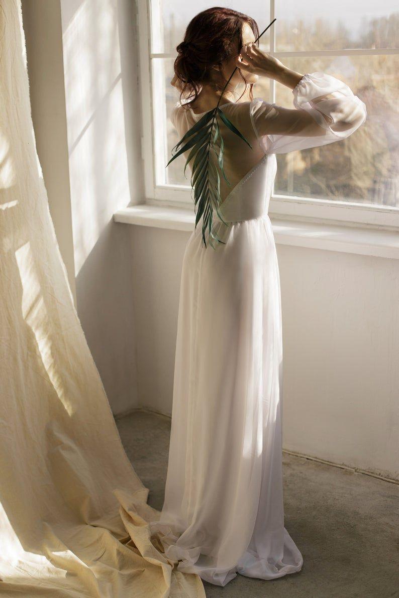 Simple Wedding Dress Beach Wedding Dress White Chiffon Dress Etsy In 2020 Chiffon White Dress Beach Wedding Dress Simple Wedding Dress Beach