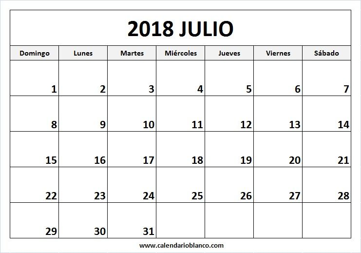 Calendario Blanco.Para Imprimir Calendario Julio 2018 Orden De Notas Calendario
